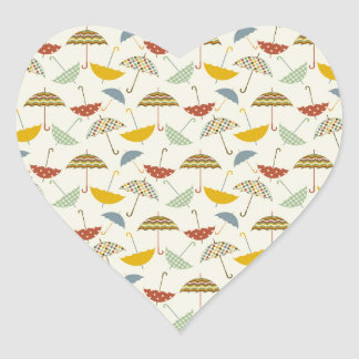 Cute Whimsical Rainy Day Umbrella Pattern Heart Sticker