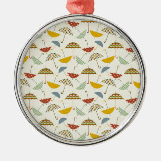 Cute Whimsical Rainy Day Umbrella Pattern Metal Ornament