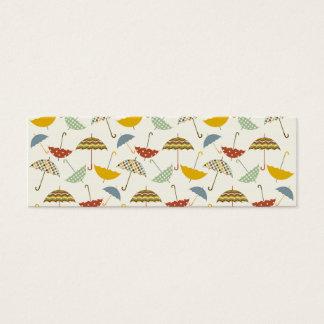 Cute Whimsical Rainy Day Umbrella Pattern Mini Business Card