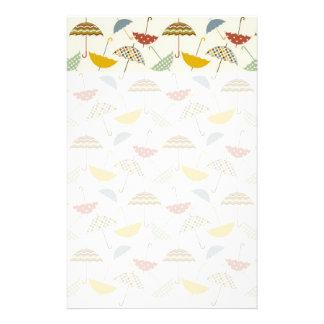 Cute Whimsical Rainy Day Umbrella Pattern Stationery