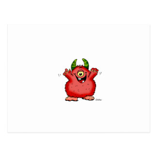 Cute whimsical red cyclope Monster by Send2smiles Postcard
