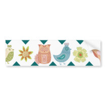 Cute Whimsical Spring Chevron Owls Flowers Birds Bumper Sticker