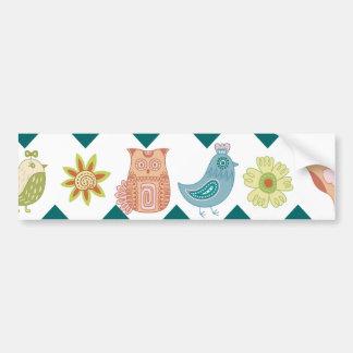 Cute Whimsical Spring Chevron Owls Flowers Birds Bumper Sticker