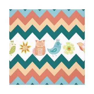 Cute Whimsical Spring Chevron Owls Flowers Birds Canvas Print