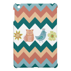 Cute Whimsical Spring Chevron Owls Flowers Birds Cover For The iPad Mini