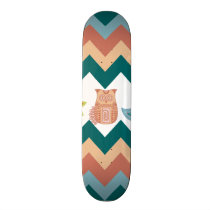 Cute Whimsical Spring Chevron Owls Flowers Birds Skateboard Deck