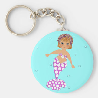 Cute Whimsical Swimming Mermaid Basic Round Button Keychain