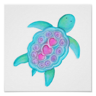 Cute whimsical turtle kids / nursery art poster