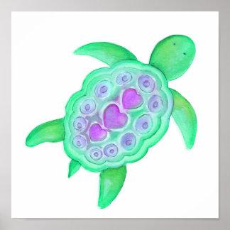 Cute whimsical turtle kids nursery art poster