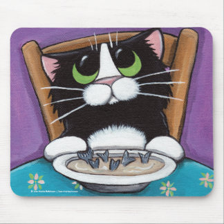 Cute Whimsical Tuxedo Cat Eating Fish Tail Soup Mouse Pad