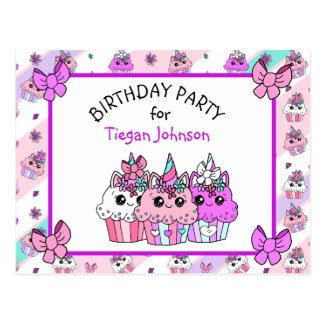 Cute Whimsical Unicorn Cupcake Birthday Invites