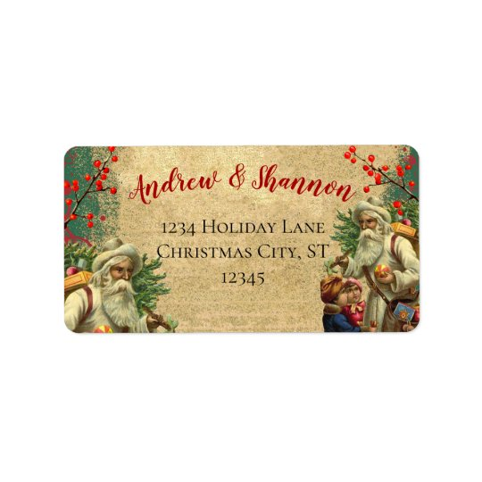 cute whimsical vintage santa return address labels zazzle com