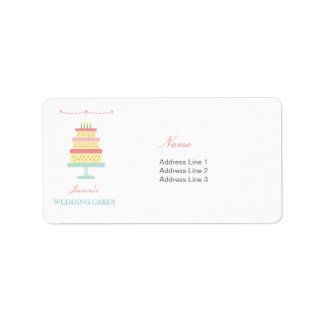 Cute Whimsical Wedding Cake Business Address Label