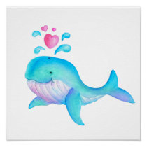 Cute whimsical whale heart spurt kids nursery art poster