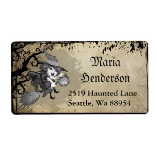 Cute & Whimsical Witch on Broom Halloween Label Shipping Label