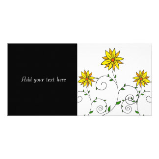Cute Whimsical Yellow Flowers Doodle Art Photo Card Template