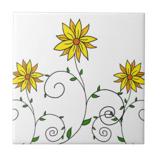 Cute Whimsical Yellow Flowers Doodle Art Tile