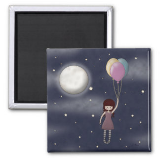 Cute Whimsical Young Girl with Balloons 2 Inch Square Magnet