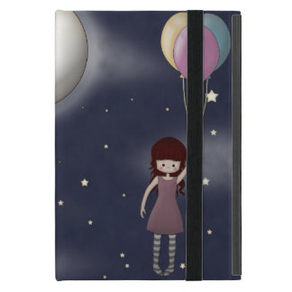 Cute Whimsical Young Girl with Balloons Cases For iPad Mini