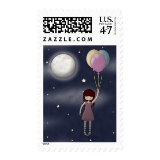 Cute Whimsical Young Girl with Balloons Fantasy Stamp