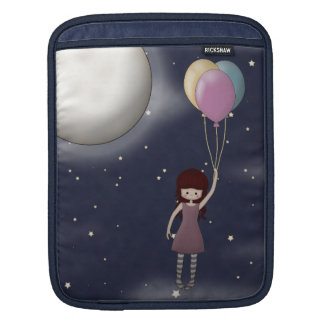 Cute Whimsical Young Girl with Balloons Sleeve For iPads