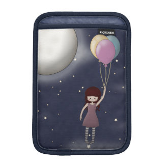 Cute Whimsical Young Girl with Balloons iPad Mini Sleeves