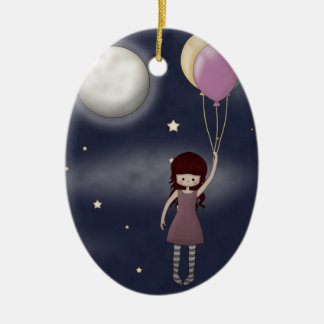 Cute Whimsical Young Girl with Balloons Double-Sided Oval Ceramic Christmas Ornament