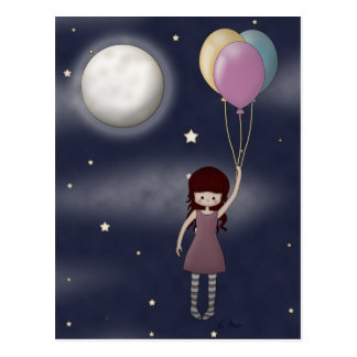 Cute Whimsical Young Girl with Balloons Postcard