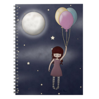 Cute Whimsical Young Girl with Balloons Spiral Notebook
