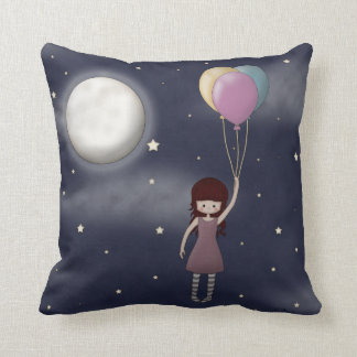 Cute Whimsical Young Girl with Balloons Throw Pillow