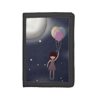 Cute Whimsical Young Girl with Balloons Trifold Wallet