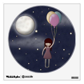 Cute Whimsical Young Girl with Balloons Wall Skins