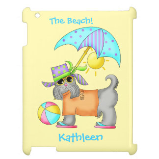 Cute Whimsy Beach Dog Yellow Name Personalized iPad Cover