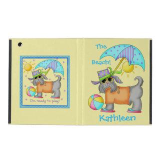 Cute Whimsy Beach Dog Yellow Name Personalized iPad Folio Case