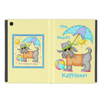 Cute Whimsy Beach Dog Yellow Name Personalized iPad Mini Case
