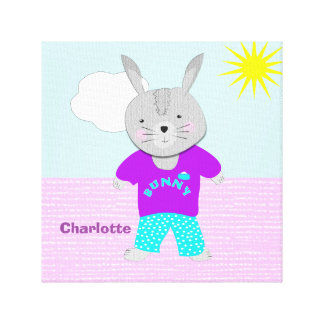 Cute Whimsy Bunny Rabbit Personalized Canvas Print