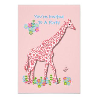 Cute Whimsy Giraffe Baby Shower - Birthday Design Card
