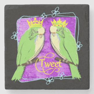 Cute  Whimsy Green Budgies Tweet Fun Stone Coaster