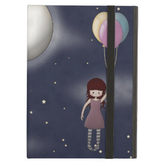 Cute Whimsy Illustration Young Girl with Balloons iPad Air Case