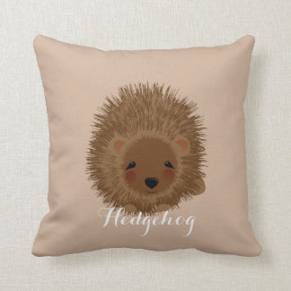 Cute Whimsy Little Hedgehog Illustration Throw Pillows