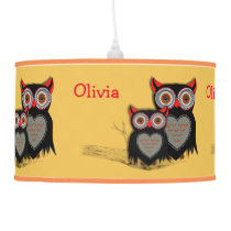 Cute Whimsy Mother And Baby Owls Personalized Ceiling Lamp