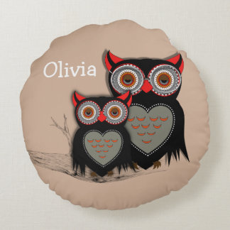 Cute Whimsy Mother And Baby Owls Personalized Round Pillow