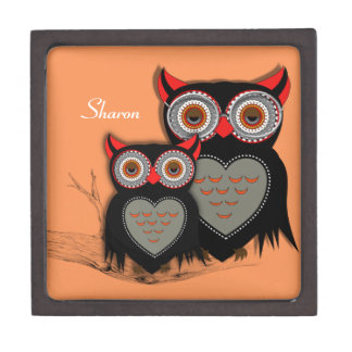 Cute Whimsy Mother Baby Owls Gift Box