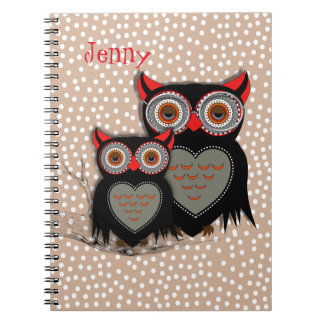 Cute Whimsy Mother Baby Owls Notebook