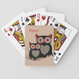 Cute Whimsy Mother Baby Owls Playing Cards