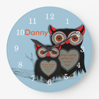 Cute Whimsy Owls Illustration Large Clock