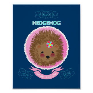 Cute Whimsy Woodland Animal Hedgehog Poster