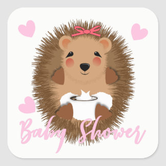Cute Whimsy Woodland  Hedgehog Baby Girl Shower Square Sticker