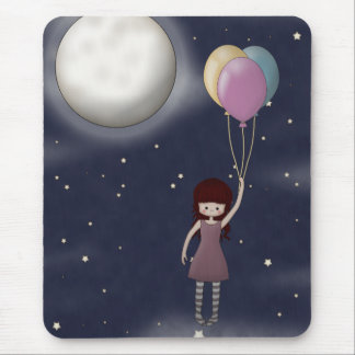 Cute Whimsy Young Girl with Balloons Mouse Pad
