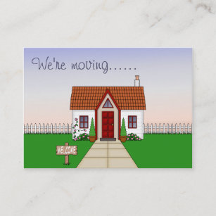 Change of address business cards templates zazzle cute whisical cartoon cottage change of address business card colourmoves